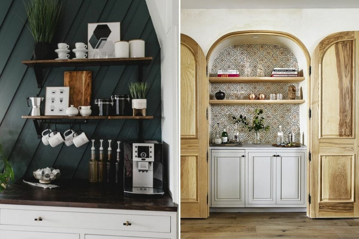 coffee bars as creative dining room storage