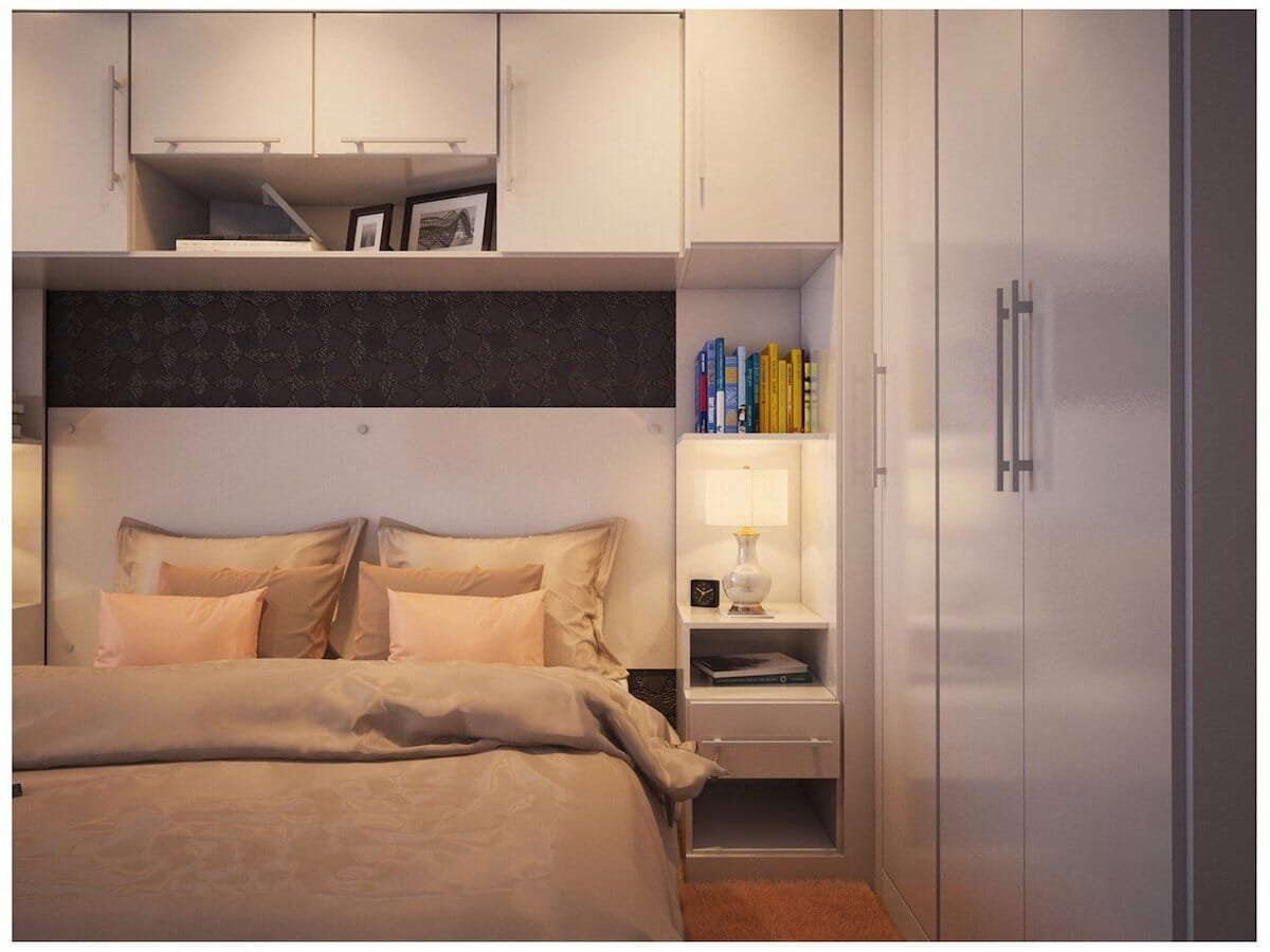 creative bedroom storage ideas with over the bed cabinets