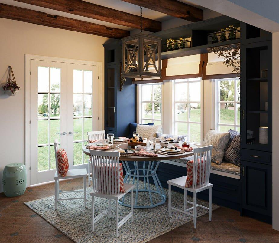creative dining room storage with window seat