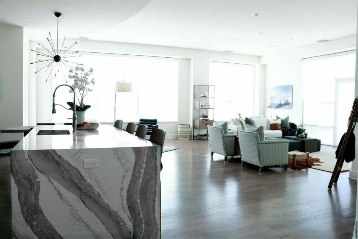 All-white living room decor by interior decorator, St. Louis, Sara Luigs
