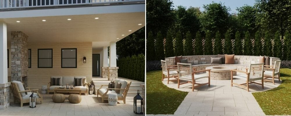 Backyard patio and screened in deck design