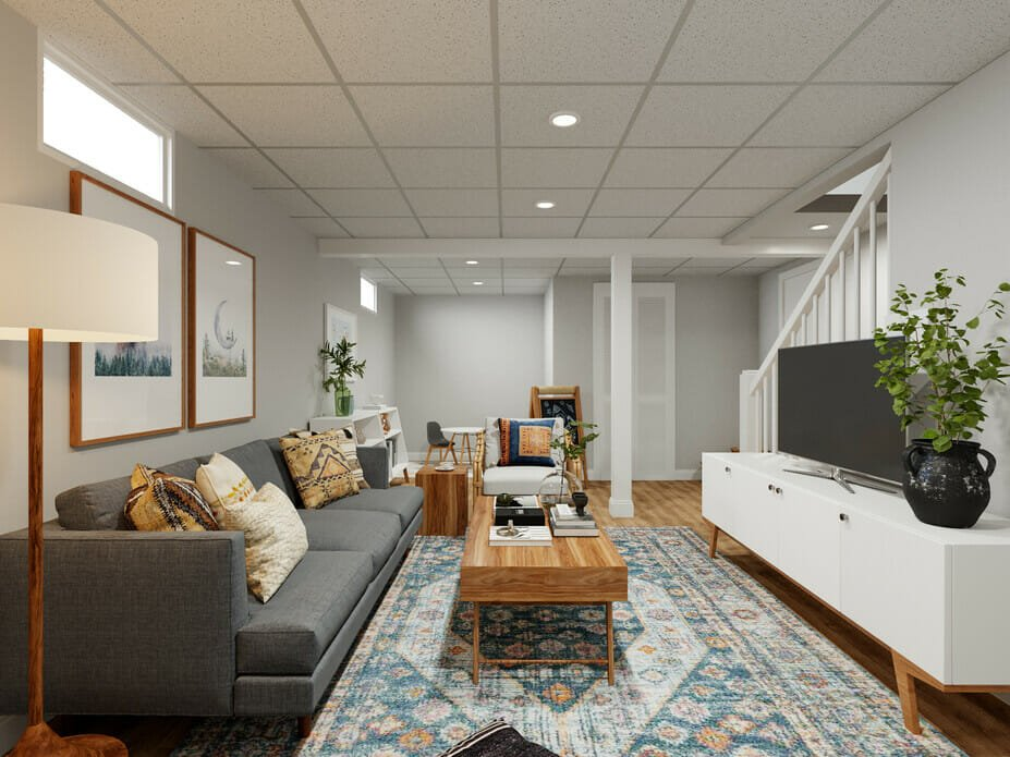 Boho style basement can increase home value - Drew F.