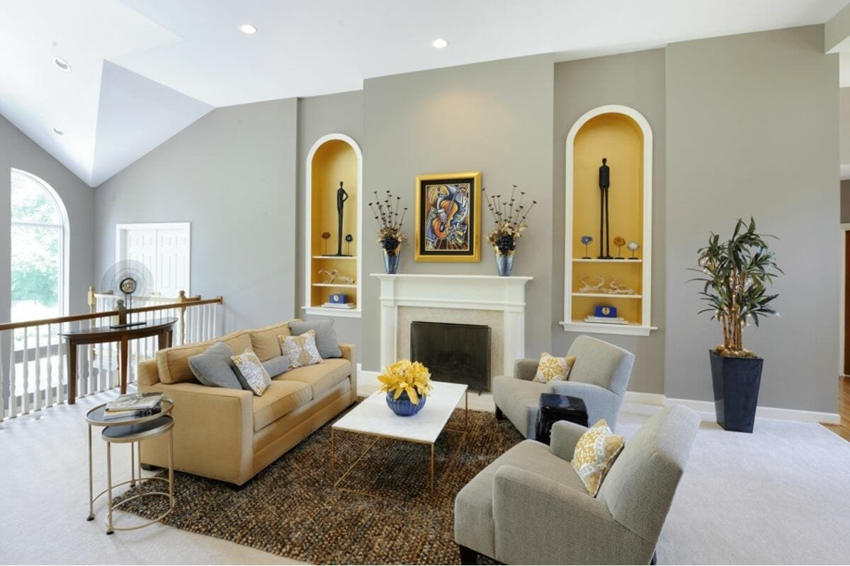 Bright living room design by one of the top St. Louis interior designers