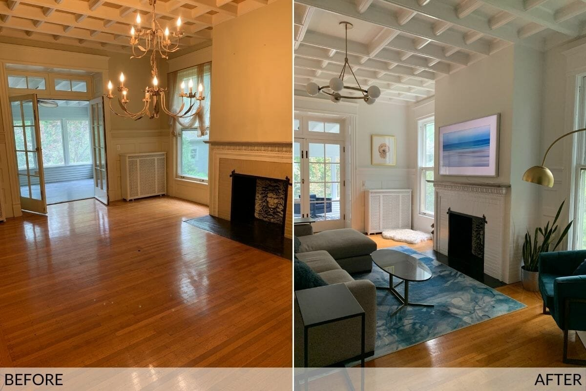 Classic modern interior before and after