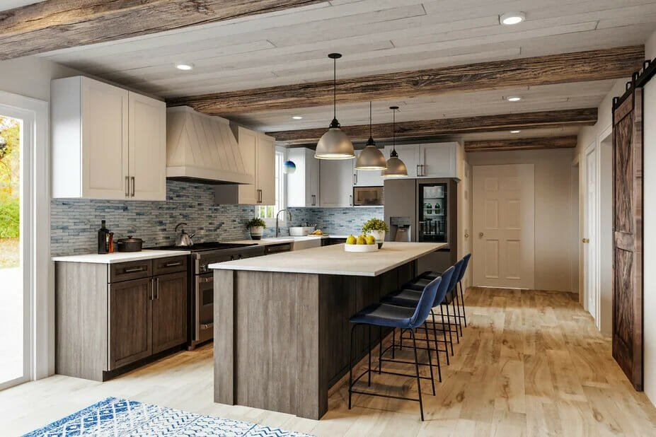 Decorilla rendering of country style kitchen cabinets
