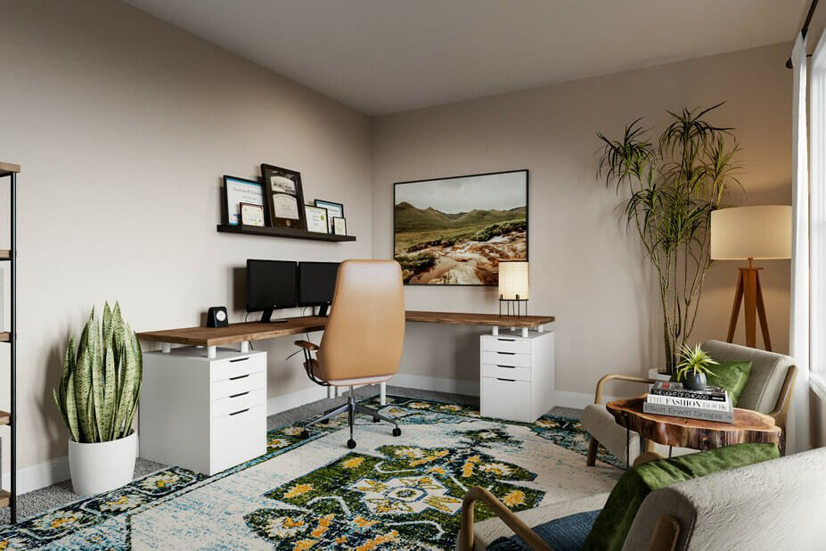 Earthy masculine room ideas for a study