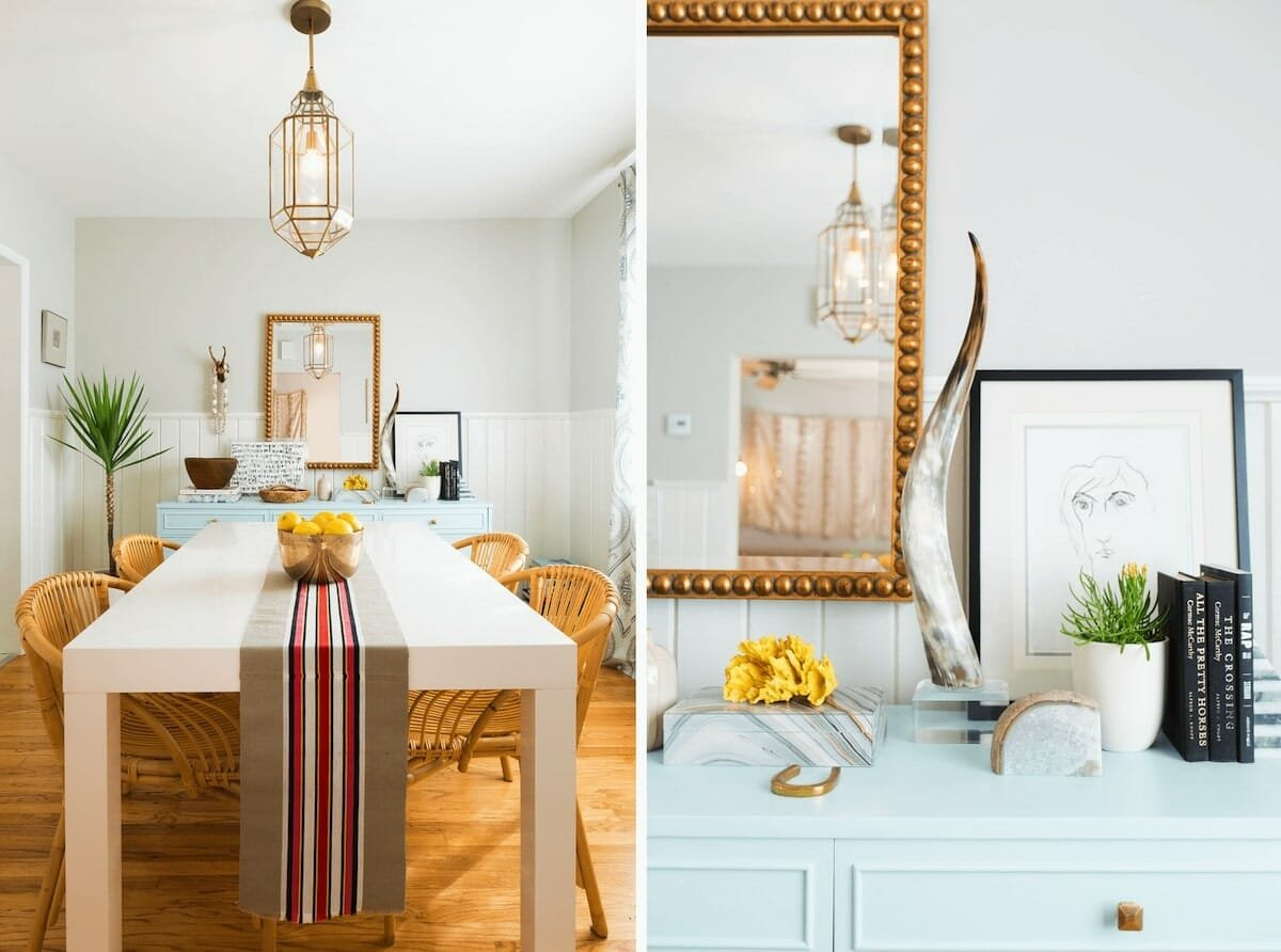 Eclectic dining room decor from local small businesses by Decorilla designer, Gwendolyn G