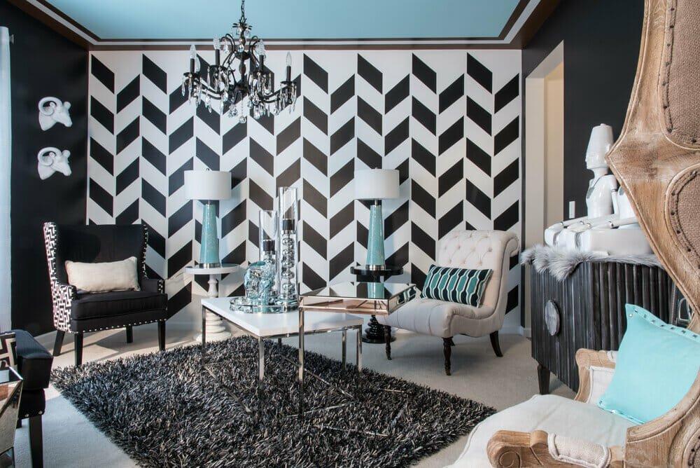 Eclectic living room interior design St. Louis