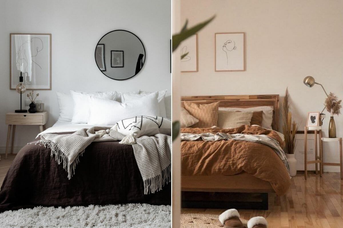 Fall bedroom décor in chocolate brown and cinnamon
