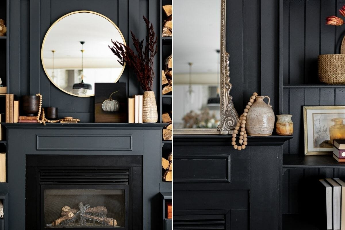 Fall mantel décor for dark walls