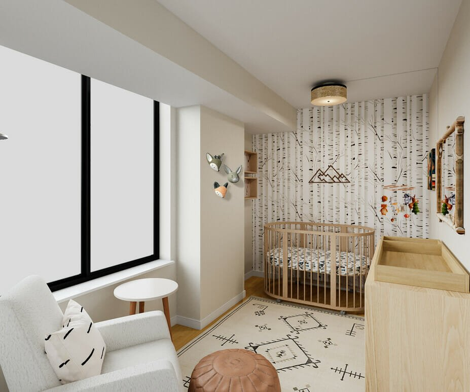 Forest inspired woodland themed nursery by Decorilla