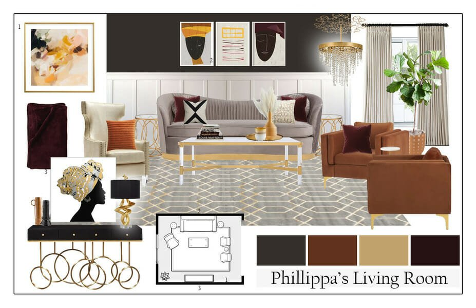 Glam style living room moodboard