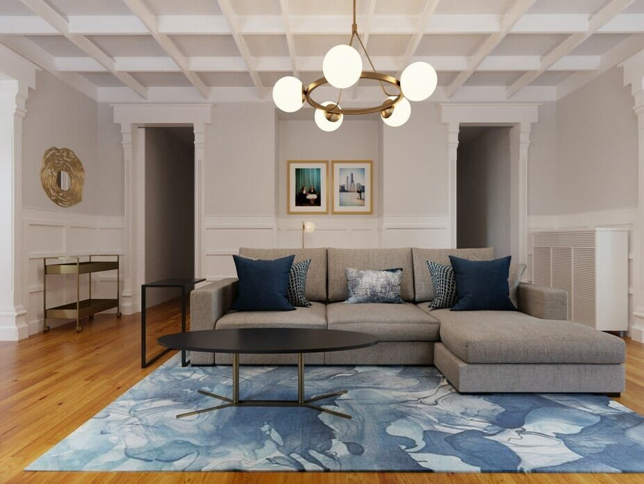 Intimate modern classic living room interior design