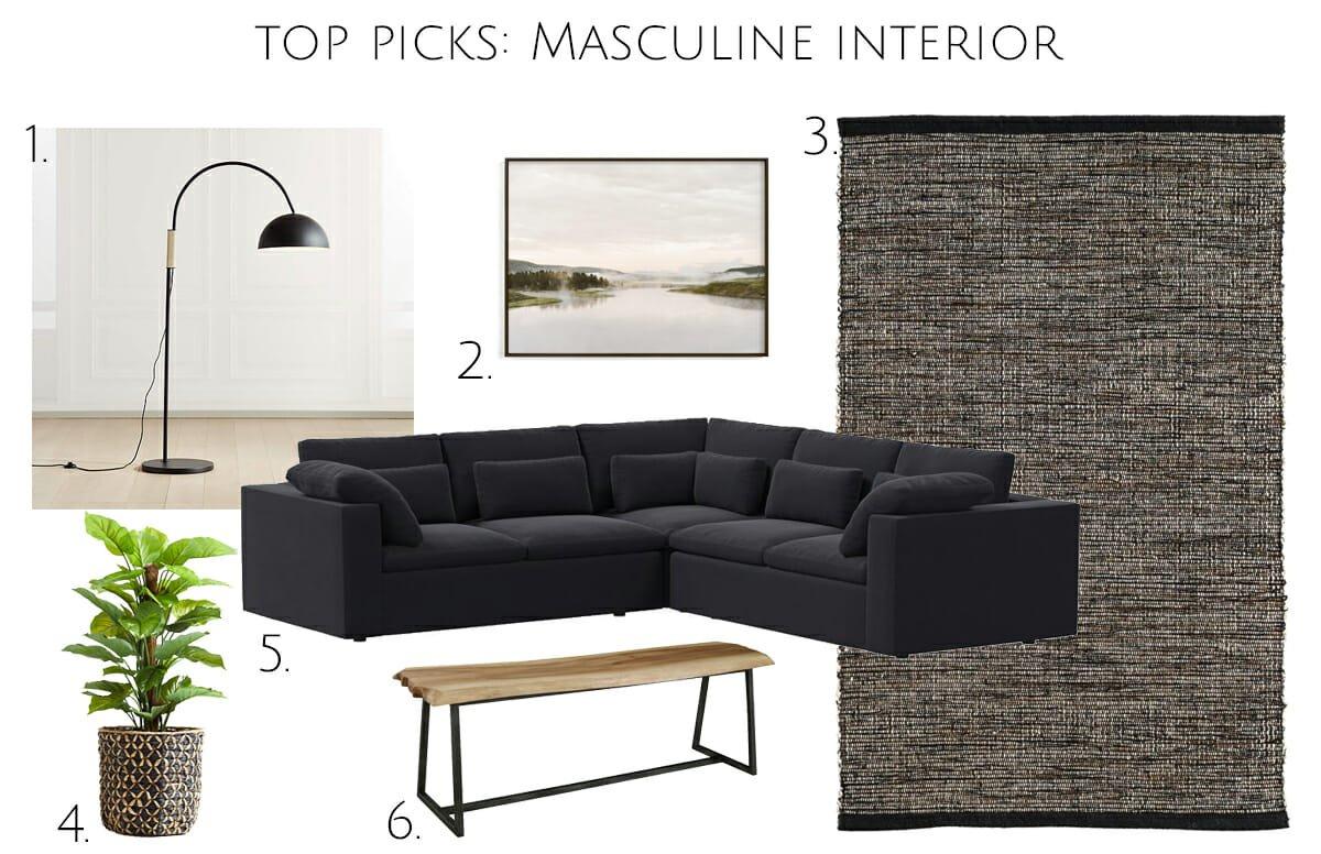 Masculine interior design top picks