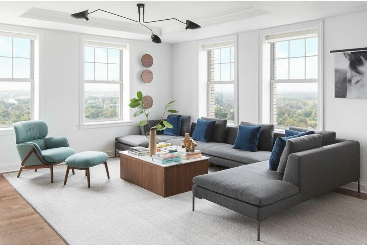 Minimal living room decor by top interior decorator St. Louis