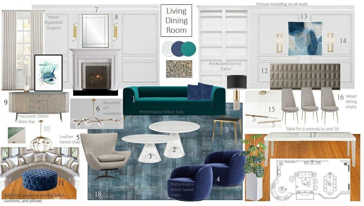 Modern classic interior design for a living room mood board