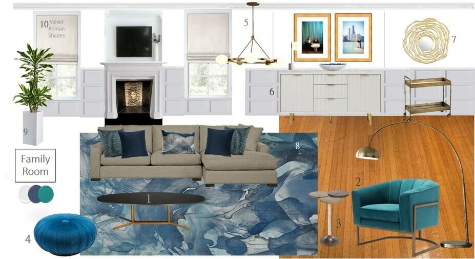 Modern classic interior mood board