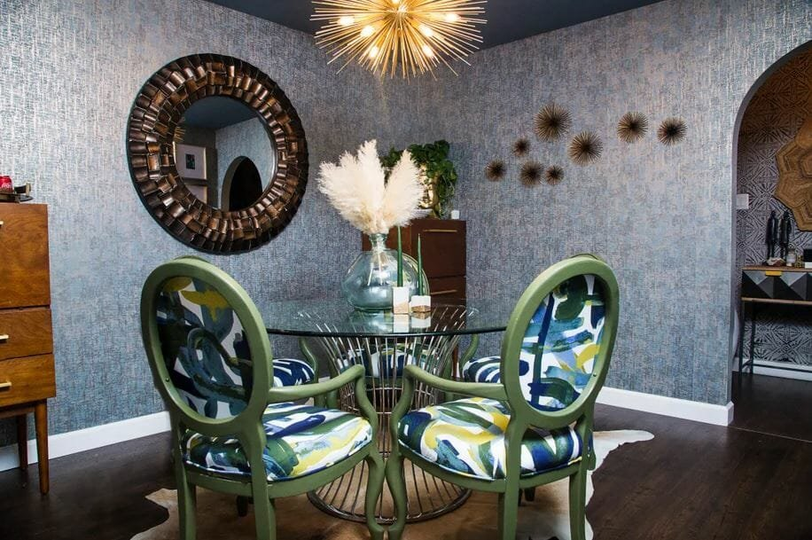 Modern glam dining room by one of the top New Orleans interior designers