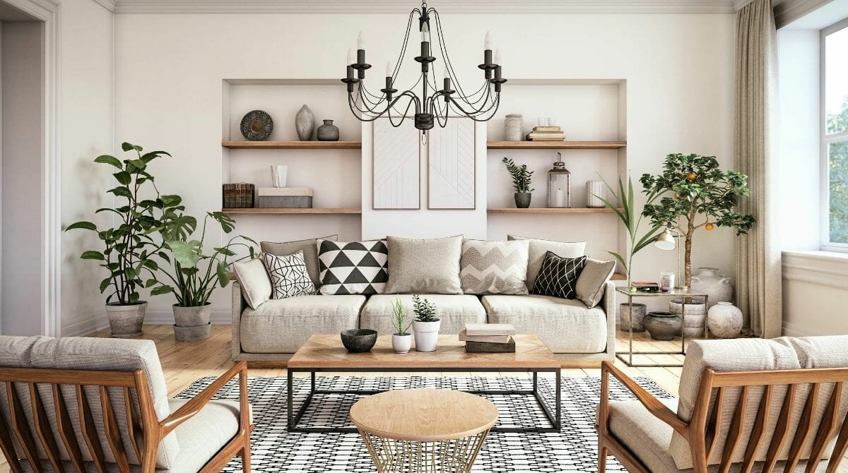 Modern living room decor by one of the top St Louis interior designers