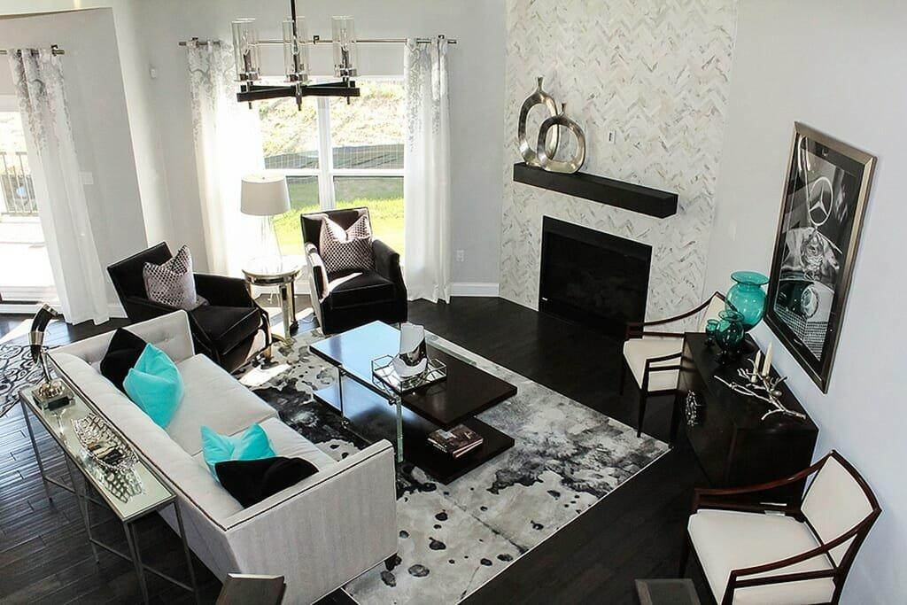 Modern living room interior design one of the top St. Louis interior designers Ellen Kurtz