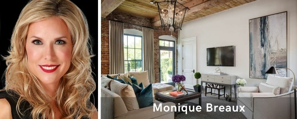 Modern rustic living room by one of the top interior decorators, Monique Breaux