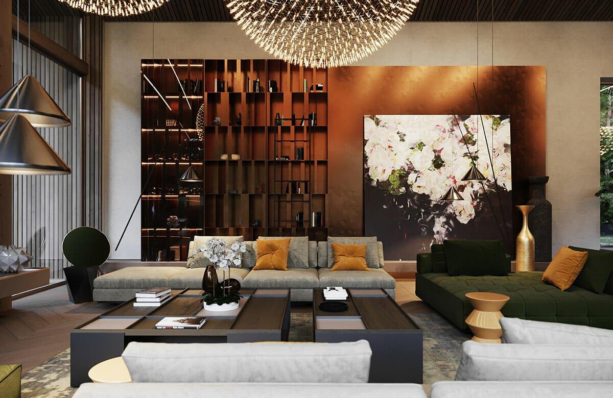Moody glam living room decor