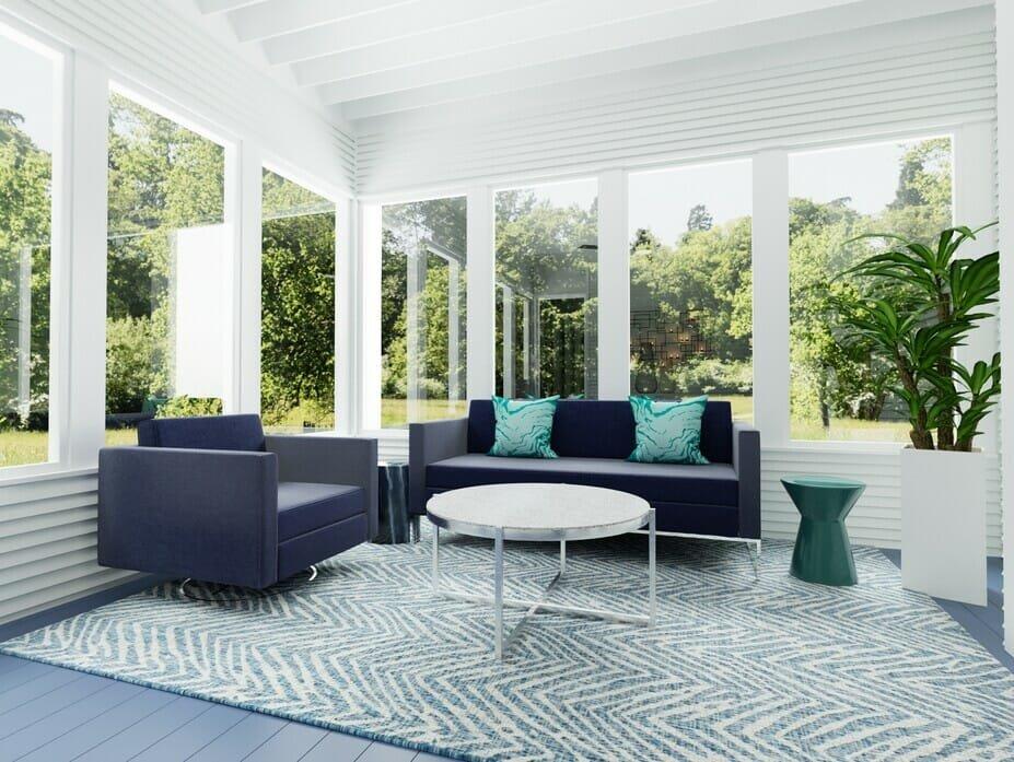 Online interior design of a sunroom