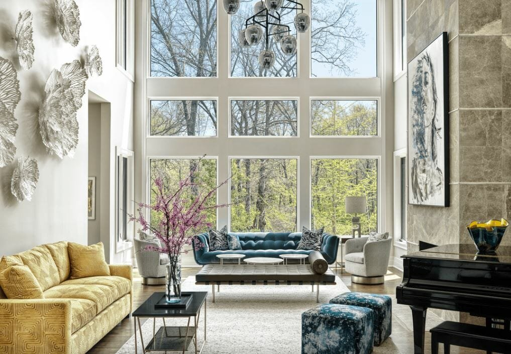Opulent living room space by one of the top St. Louis interior designers