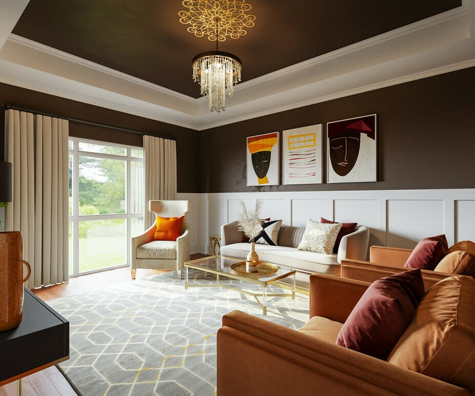 Rich color pallete in glam living room decor
