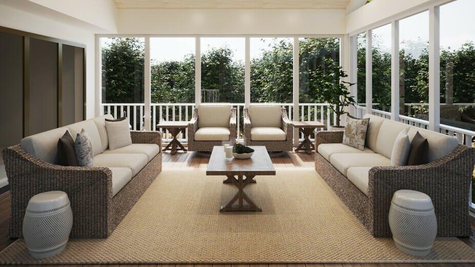 Sunroom as part of backyard patio design