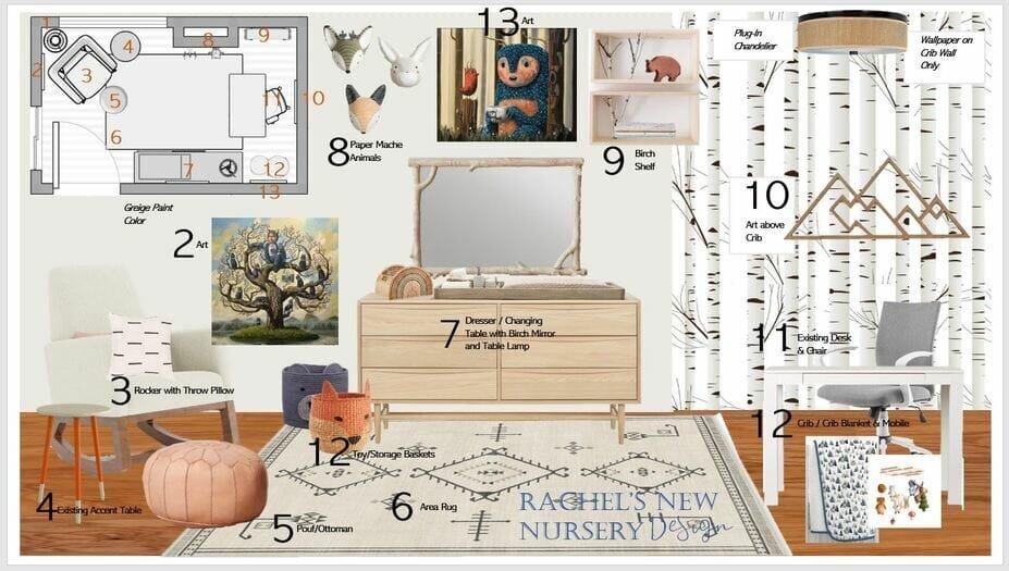 Woodland animals nursery decor moodboard