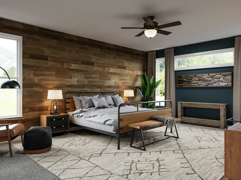 masculine decor in a bedroom
