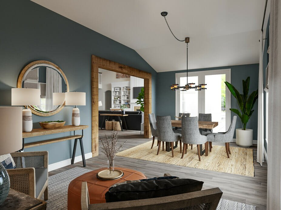 masculine interior design for a combined living and dining room