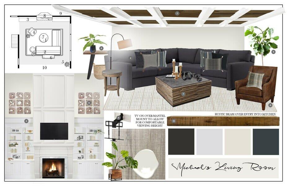 masculine interior design mood board