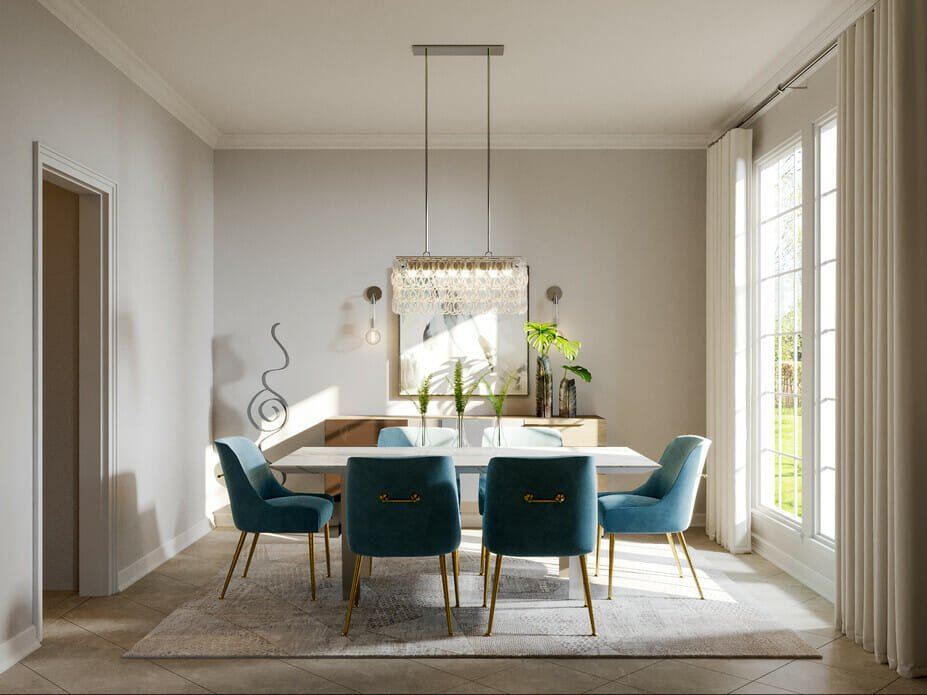 Glam modern dining room with contemporary luxe dining chairs