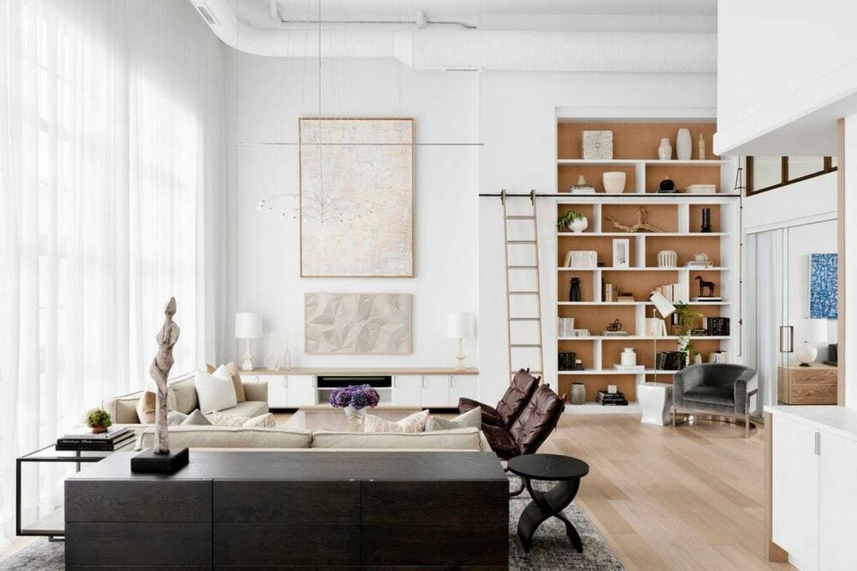 Modern Scandinavian living room by one of the top Baltimore interior designers, Laura Hodges