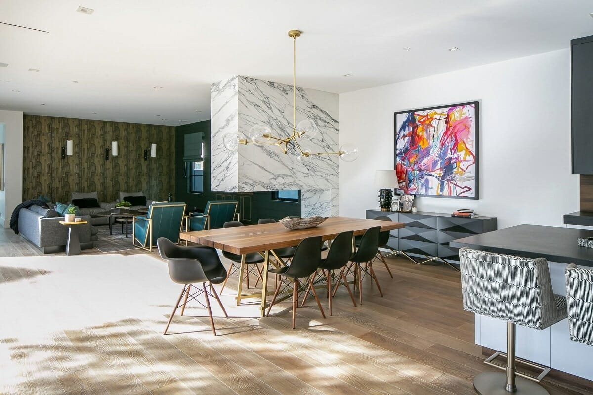 Modern glam dining room and living space