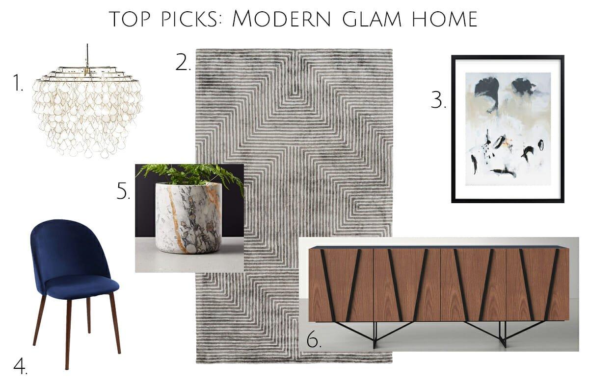 Modern glam dining room interior picks