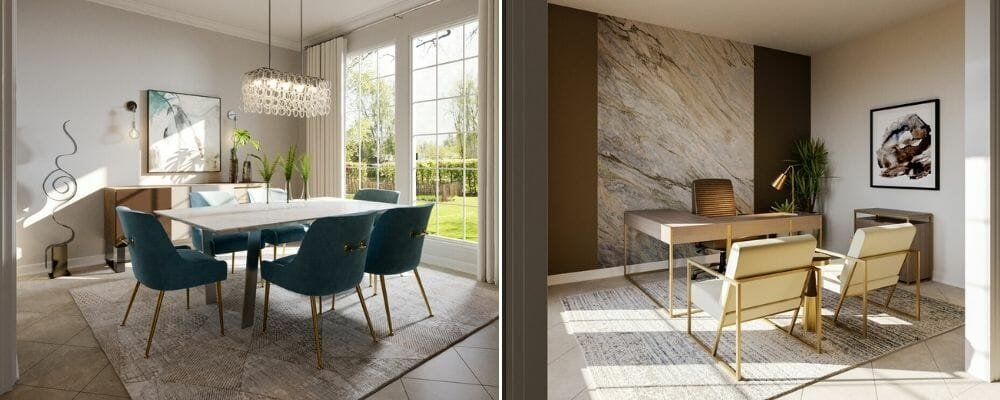 Modern home office and glam dining room