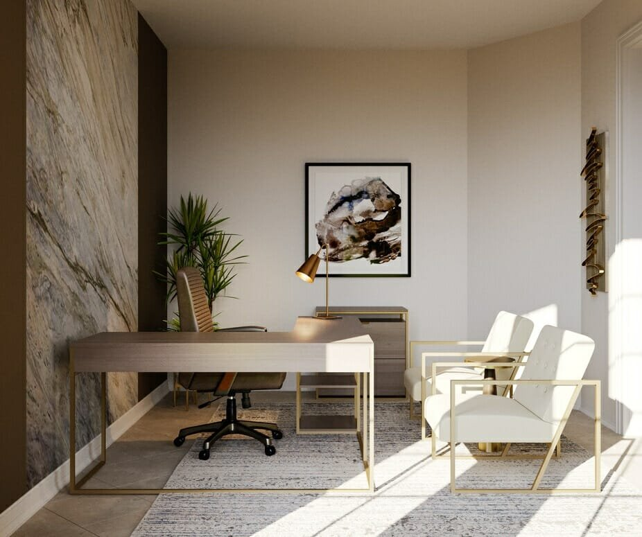 Modern home office design ideas with a modern minimalist desk and contemporary chairs