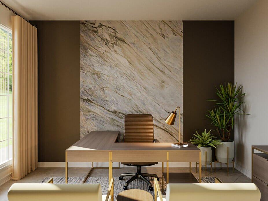 Modern home office design with a modern minimalist desk