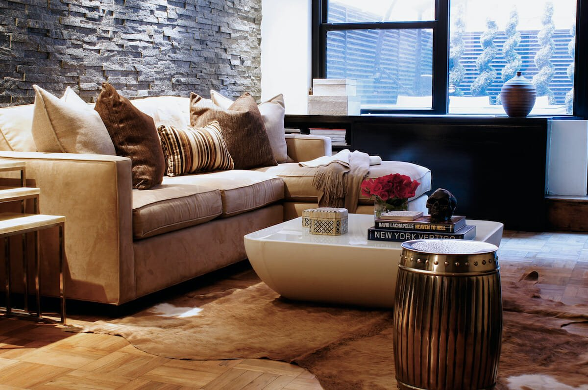 Natural hide rug placement in a living room