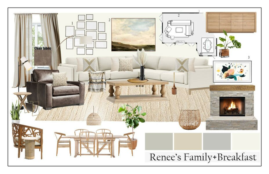 scandi boho living room mood board